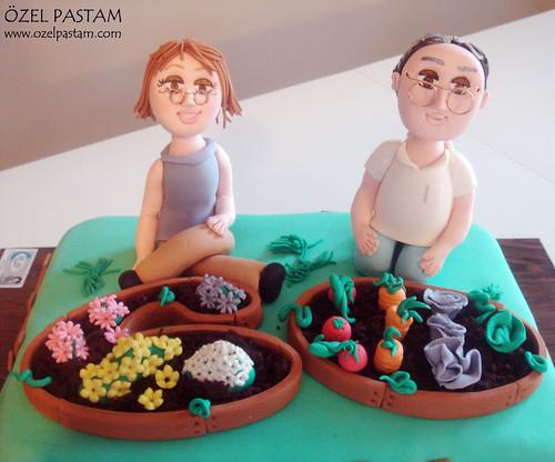 60 Yaş Doğumgünü Bahçe Temalı Pasta