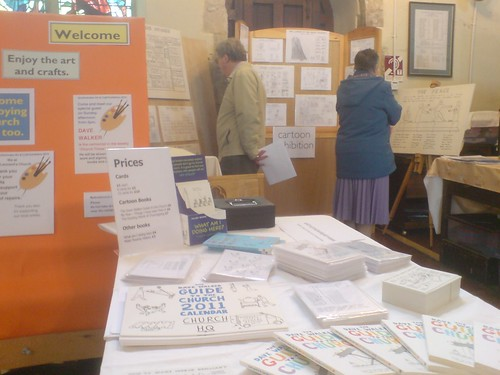Cartoon exhibition at church in rural Essex