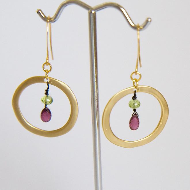 newsemi-precious-garnet-and-citrine-gold-hoop-earrings