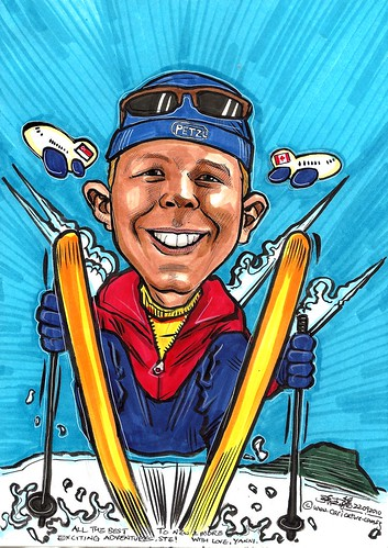 caricature theme - skiing A4