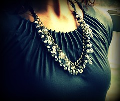 Zoe Beaded Ribbon and Chain Necklace (twillypop) Tags: black fashion trendy swarovski ribbonnecklace twillypopcamille