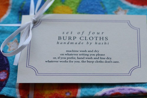 burp cloth tag