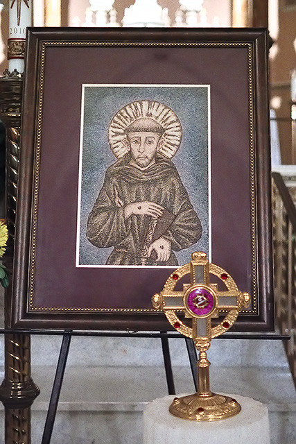 Saint Anthony of Padua Roman Catholic Church, in Saint Louis, Missouri, USA - icon and relic of Saint Francis of Assisi