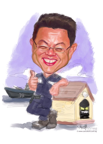 digital caricature for SIngapore Navy - 1 small