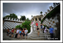 Long Exposure - Park Gell Barcelona N4514e (Harris Hui (in search of light)) Tags: barcelona park longexposure travel vacation sky people distortion canada lines vancouver clouds stairs composition garden interesting spain nikon bc patterns tripod shapes move richmond slowshutter visitors candids candidcamera cloudscape exciting sunnyday climbingthestairs d300 funshot sigma1020mm parkgell longvacation travelphotography seethelight sigmalens blurrypeople cloudsandsky toomuchlight candidportraits gaudishome widewidewide doitright sigmazoomlens superwideanglelens movemovemove nikond300 cloudsmoving hoyand400filter gaudispark barcelona2010 harrishui vancouverdslrshooter bestofbarcelona visitbarcelonain2010 pleasewalk photoshopthem needlesslight youneedatripod gowidegowild seethebestofbarcelona seetheworldasatourist seetheworldasatraveller seethecolorsofworld seethetones somanyvisitors peopleinmyscene cuttingdown9stopsoflight wideiswild