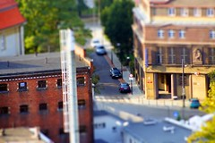Street Tilt-Shift #5 (karol.cc) Tags: street city building cars car saturated model bright fake poland sunny birdseye birdview gliwice tiltshift