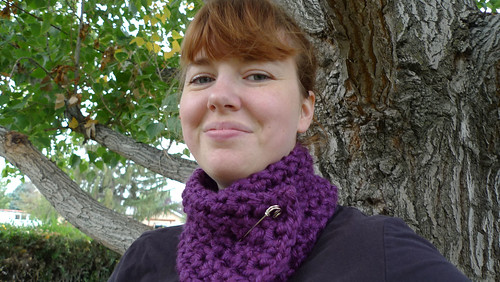 wearing purple scarflette