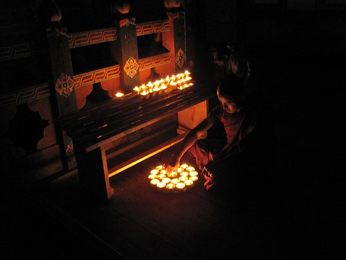 lighting the lamps for the altars
