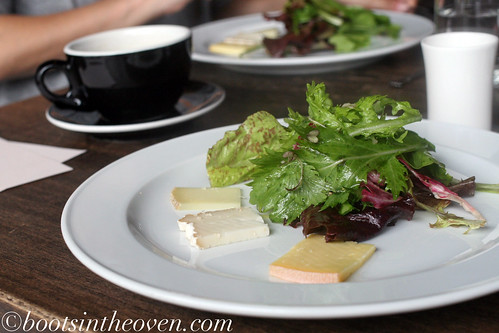 Selection of Steve's Cheese, Gathering Together Spring Greens, Aged Sauvignon Blanc Vinaigrette