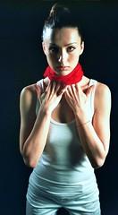 Olga Red Band Portrait 3 (neohypofilms) Tags: lighting shadow red portrait white color slr art film girl beauty 35mm hair studio lens 50mm model nikon ukraine negative russian kiev softbox