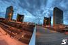 Towards the knowledge (A.G. Photographe) Tags: blue sunset sky cloud fish paris france nikon cloudy fisheye bleu ciel bnf bluehour nikkor nuage français hdr parisian bibliothèquenationaledefrance anto couchédesoleil xiii parisien heurebleue 16mmfisheye d700 antoxiii hdr9raw