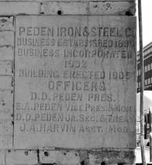 Cornerstone, Peden Warehouse, 700 N. San Jacinto, Houston, Texas 0925101245BW (Patrick Feller) Tags: peden warehouse houston historic building structure harriscounty texas demolished ironsteel ironmountain united states north america