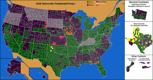 2008 Democratic Primary Electoral Map