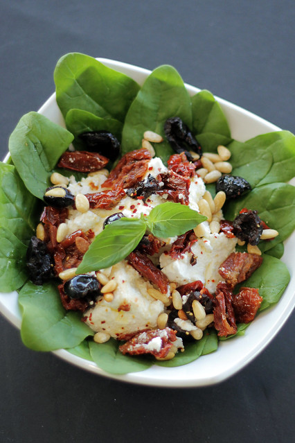 Black Olives, pinenuts, spinach, Sun dried Tomatoes