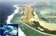 Cocos Islands airstrip (inset: Cocos satellite pic)