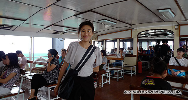 Another picture of Rachel in the ferry