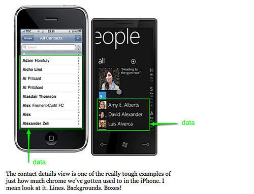 iPhone and Windows Phone 7 series side-by-side: The chrome, the chrome! - Morten Just