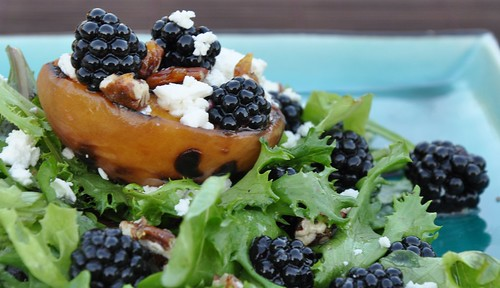 Grilled Peach Salad with Goat Cheese, Blackberries and Lemon Vinaigrette