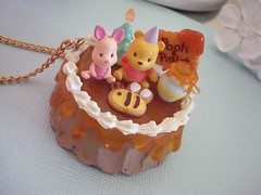 Winnie the Pooh Cake Necklace (Cupcake Princess Jewelry) Tags: bear wood tree cute cake forest dessert pig miniature necklace sweet chocolate character adorable jewelry disney bee plastic pot lolita honey hundred pooh stump kawaii etsy piglet decora winnie darling frosting acre