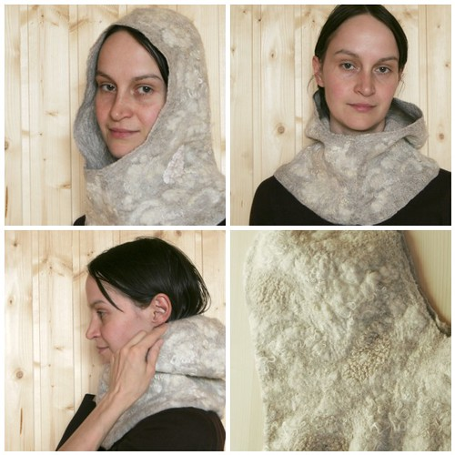 cowl, hood, hoodie, scarf, eco-fashion, nuno felted, wool, lace