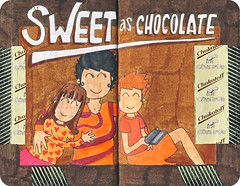 MD101006 (Loops!) Tags: brown moleskine kids illustration children sketch sweet drawing chocolate diary journal sketchbook marker agenda chocolat laurencewauters