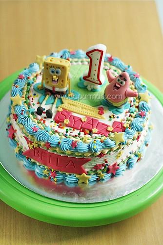 Syaza & Bella's Bday Cake ( Spongebob )