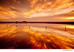 Sunset over salt lake. (john white photos) Tags: sunset lake storm hot reflection water clouds fence fire interesting flood 7 australia days explore remote southaustralia eyrepeninsula interesting7days