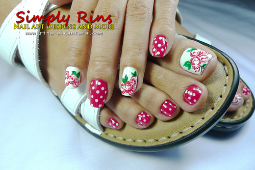 Valentine's Nail Art Bed of Roses 07