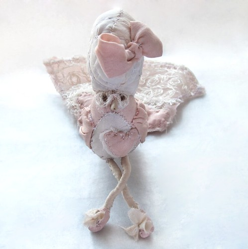 Pink Hearts Rococo Bird