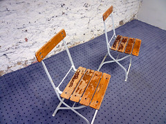 Couple (Nicote) Tags: wood germany wooden chair couple purple chairs both reutlingen