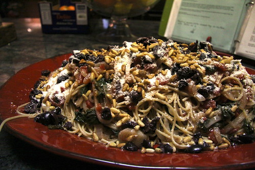Spaghetti with Swiss Chard, Onions, Kalamata Olives and Pecorino