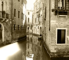 monochrome (elsmine) Tags: street city venice light italy sun beauty sadness day venezia canali