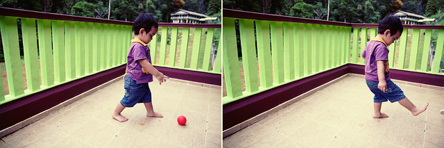 akhil playing with his ball