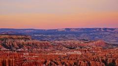 Sunset Colors (Susan Roehl) Tags: nationalparkstour2017 brycecanyonnationalpark utah usa sunset outdoors hoodoos paunsauguntplateau rockformations distinctgeologicalstructures sueroehl panasonic lumixdmcgh4 12x35mmlens handheld ridge canyon landscape cliff trail coth5 ngc