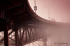 The golden gate bridge @ the city of fog (San Francisco) (prinsbas87) Tags: sanfrancisco bridge usa fog city nikon red light lightroom travel trip walking holiday