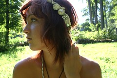 Day 340 (peyton weikert) Tags: light sun selfportrait outside necklace day crystal buttons tan 365 headband 340