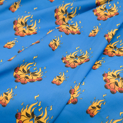 Flaming Cherry Tattoo Large - D Blue 02