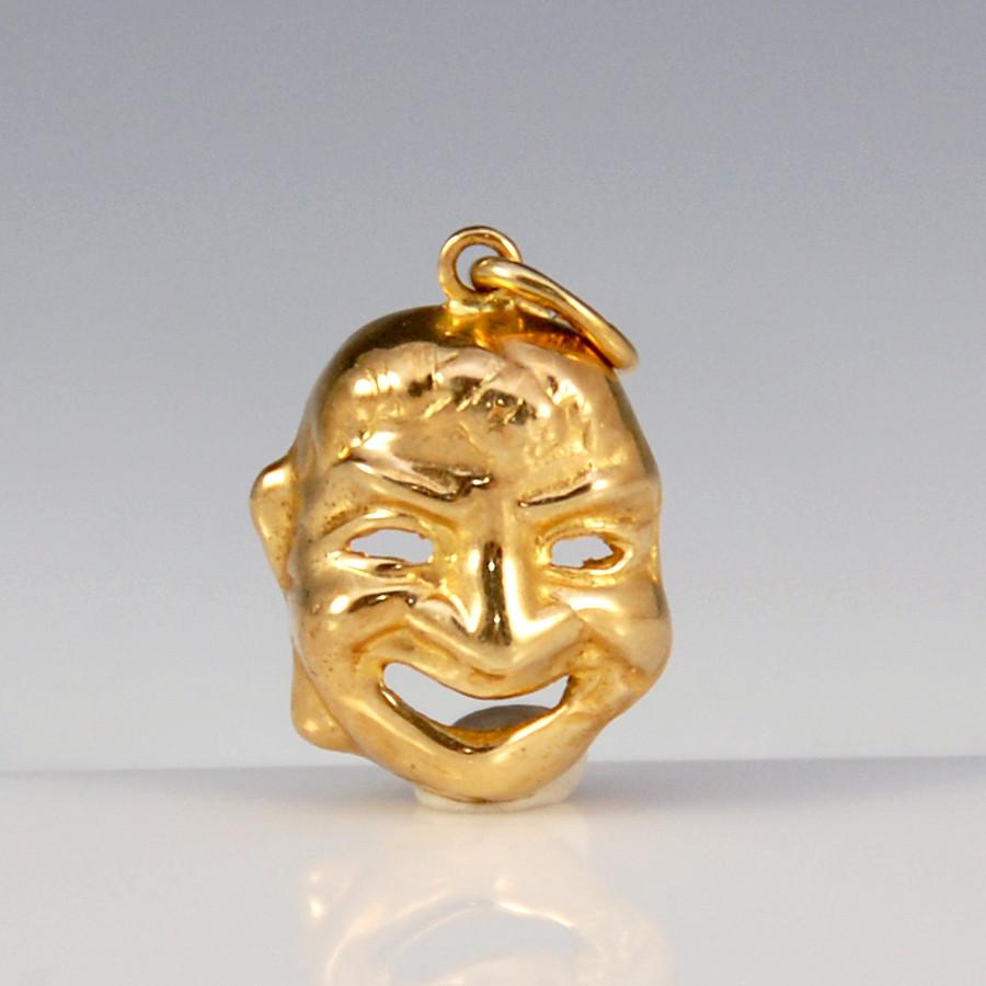Vintage 14K Gold Smiling Face Mask Charm Pendant