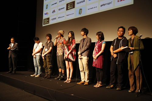 Filmmakers and cast members of the short films invited onstage after screening