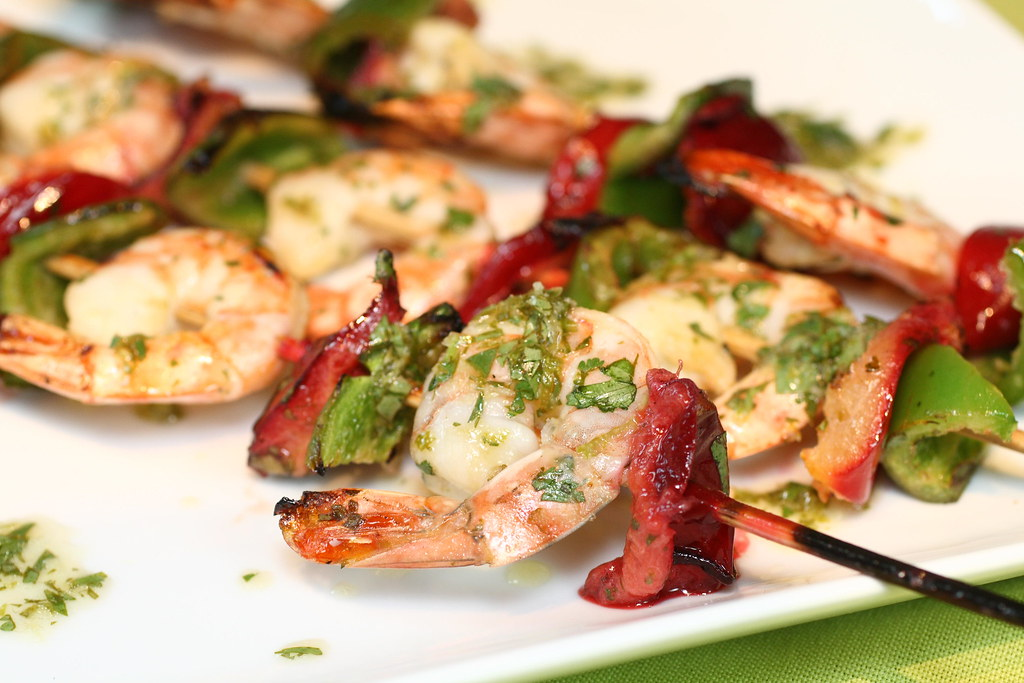 4843044256 a72fc7e98a b d BBQ shrimp skewers with peppers and plums