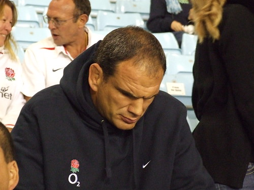 Martin Johnson sat just behind us at the Women's Rugby World Cup
