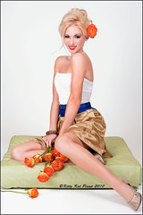 May Flowers (Zairia's Photography) Tags: flowers orange cute sexy female studio photography dress blonde pinup