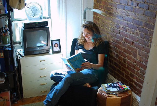 reading space with natural light and a comfortable chair