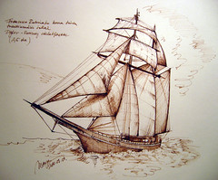 Pirate ship sketch with brown ink (picturesofmaya) Tags: sea brown lake illustration pen boat fountainpen draw fishingboat linedrawing rajz hajzs picturesofmyday fountainepen