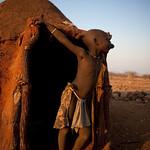 Himba house at sunset - Namibia