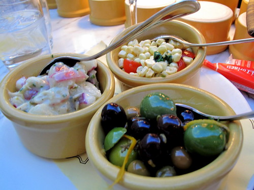 Radishes, corn salad and olives at Otto in Vegas