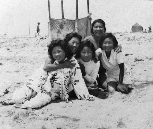 Japanese American Girls at the Beach 1930