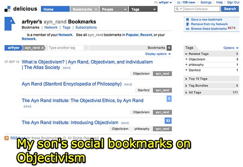 My son's social bookmarks on Objectivism