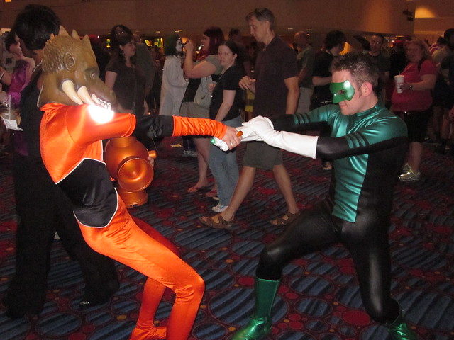 Larfleeze tries to steal Green Lantern's ring at DragonCon 2010