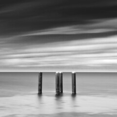 Capped (c e d e r) Tags: ocean longexposure sea sky blackandwhite bw white seascape black skne marine europe foto post sweden pole cap daytime posts malm capped malmo scania ceder ndfilter skane nd110 flickriver cederfoto 10stopgreyfilter daytimeexposure